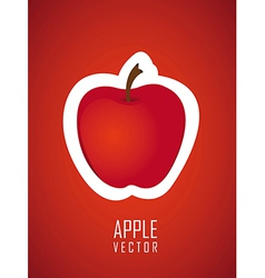 Stickers apple red background vector