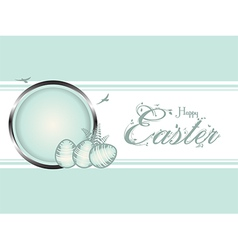 Easter eggs pastel green border vector image