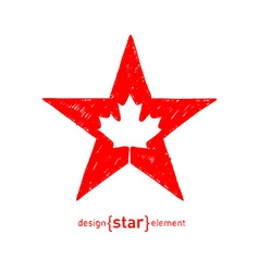 Hand draw star with canadian maple leaf vector