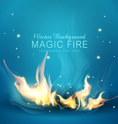 Blue background with a burning fire vector