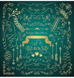 Golden hand sketched rustic floral design elements vector