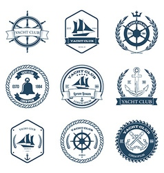 Set of yacht club labels design elements vector