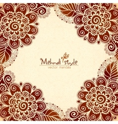 Vintage flowers ethnic frame in indian mehndi vector