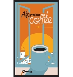 Afternoon coffee cup vector