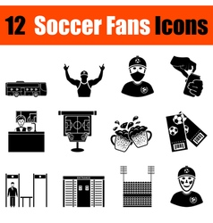 Set of soccer fans icons vector