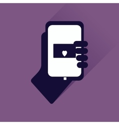 Flat web icon with long shadow phone in hand vector
