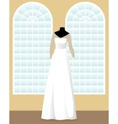 A-line wedding dress on mannequin in saloon vector