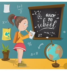 back to school schoolgirl and school supplies vector image