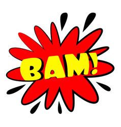 Bam explosion sound effect icon cartoon style vector