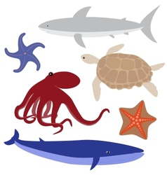Cartoon sea life set 4 vector image vector image