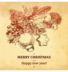 Christmas and New year holidays hand drawn vector image vector image