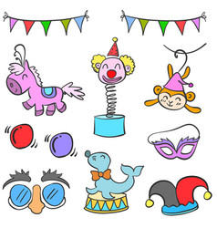 Collection circus element cute doodles vector