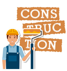 construction worker roller paint tool vector image