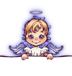 cute angel with panel for text vector image vector image
