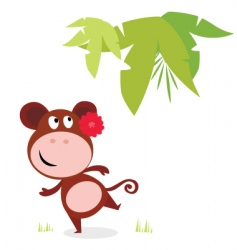 Cute dancing monkey vector