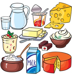 Dairy products icon set vector image vector image