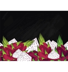 Dragon fruit composition on chalkboard vector