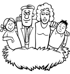 family nest cartoon coloring page vector image vector image