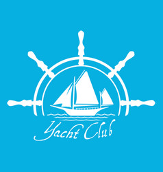 Flat yacht club logo icon with helm vector