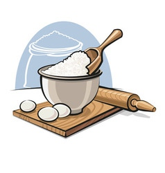 Flour in bowl with eggs vector