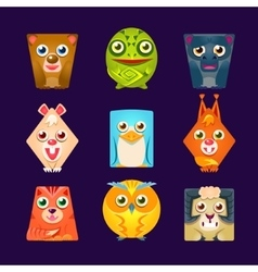 Geometric shape flat cartoon animals set of vector