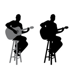 Guitar player sitting on a bar stool vector