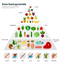 Healthy eating concept keto food pyramide vector