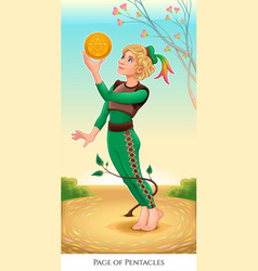 Page of pentacles tarot card vector