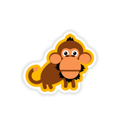 Paper sticker on white background small chimpanzee vector