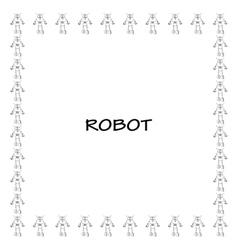 Robot doodle frame vector