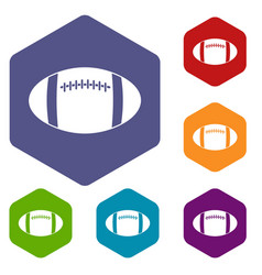 Rugby ball icons set hexagon vector