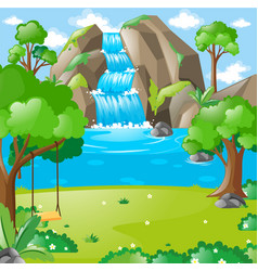 scene with waterfall in the woods vector image