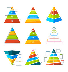 set of different triangles and pyramids with vector image vector image
