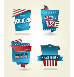 Set of four made in usa labels vector