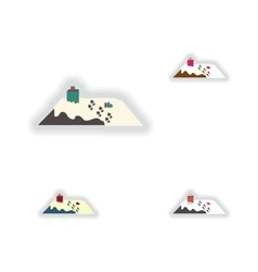 Stylish concept paper sticker on white background vector