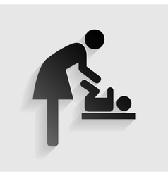 Symbol for women and baby baby changing Black vector image
