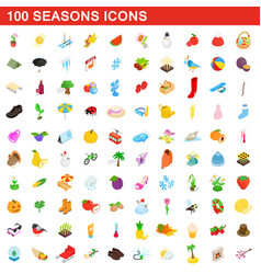100 seasons icons set isometric 3d style vector