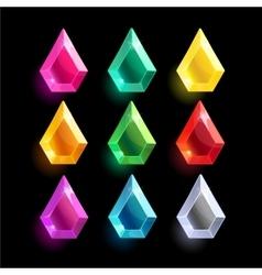 Set of cartoon different color crystals vector