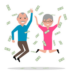 Grandparents won the big prize and became rich vector