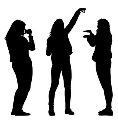 silhouettes woman taking selfie with smartphone on vector image