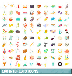 100 interests icons set cartoon style vector image
