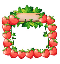 Frame design with fresh strawberries vector