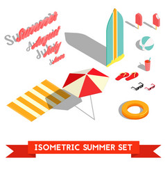 Set of isometric summer vacation elements vector