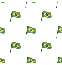 Flag of brazil icon in cartoon style isolated on vector