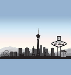 Las vegas skyline travel american city landmark vector
