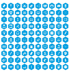 100 webdesign icons set blue vector