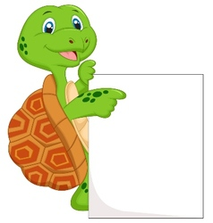 Cute turtle cartoon with blank sign vector image