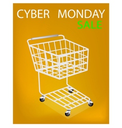 Shopping cart on cyber monday sale promotion vector