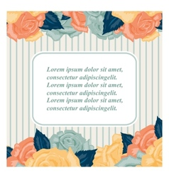 Retro wedding invitation card with roses vector