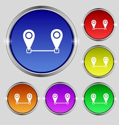 Map pointer icon sign round symbol on bright vector